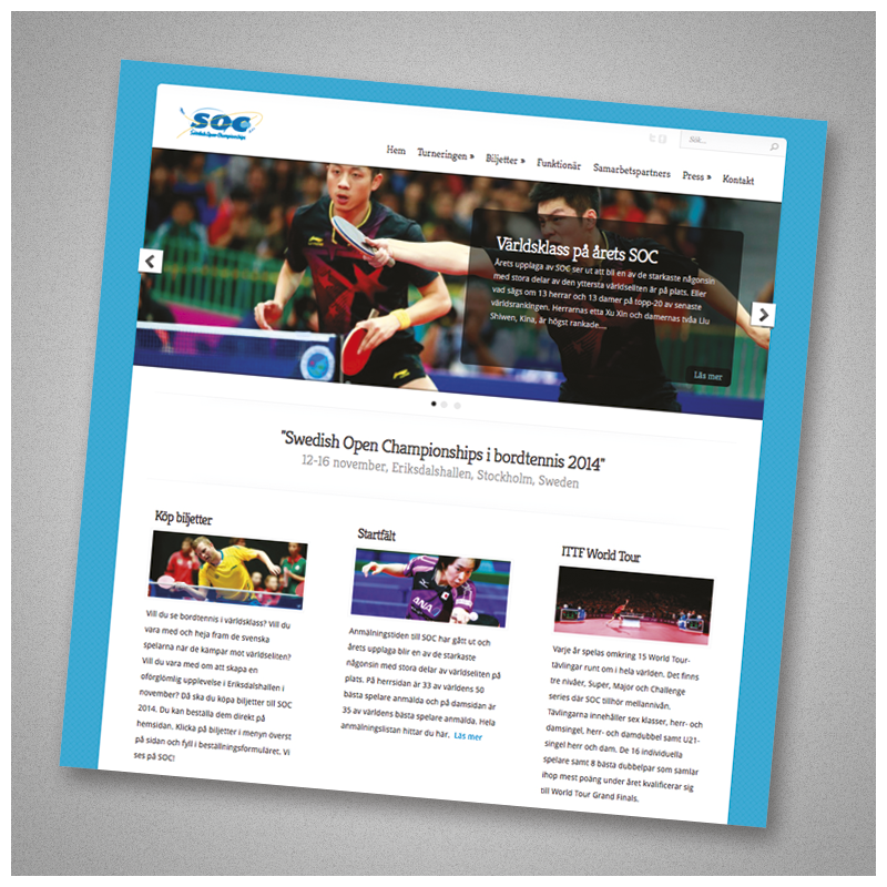 Website for Swedish Open Championships. Web development, web design and maintenance.