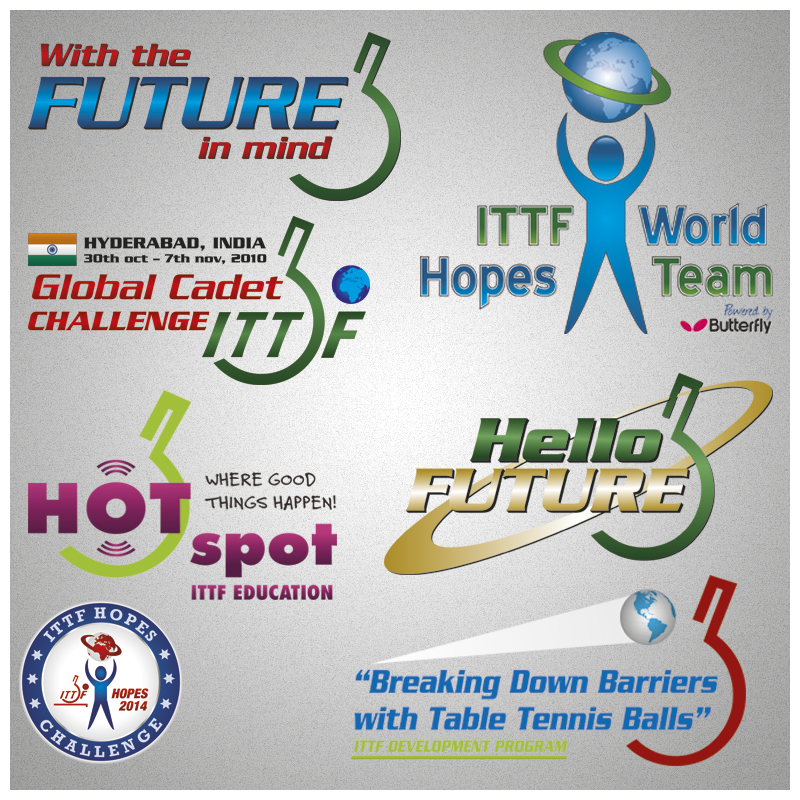 Various logos and programs for International Table Tennis Federation. Foundation, ideas, design and artwork.