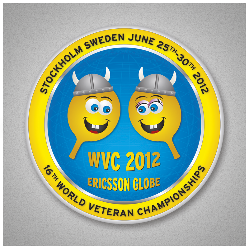 World Veteran Championships in Stockholm 2012. Design and artwork of logo, pamphlets, brochures, flyers, web, badges, backdrops etc.