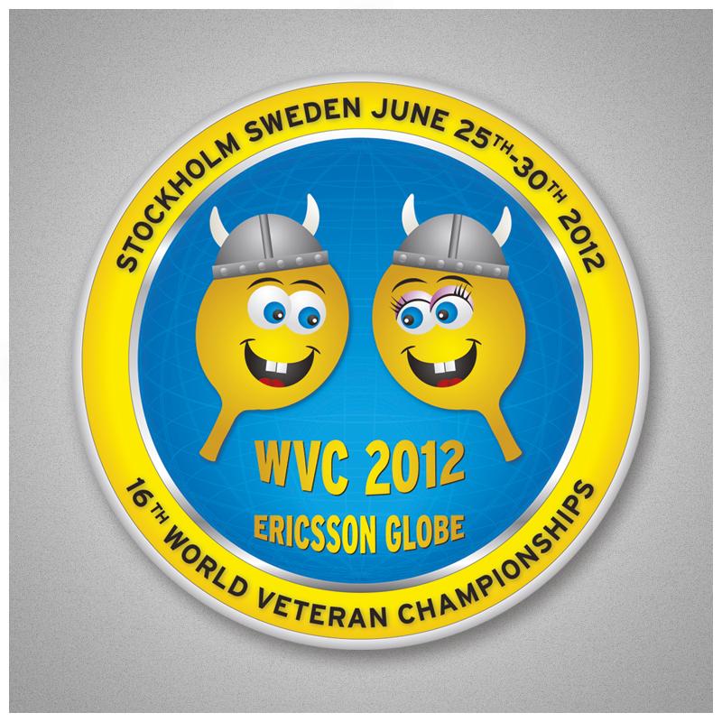 World Veteran Championships in Stockholm 2012. Design and artwork of logo, pamphlets, brochures, flyers, web, badges, backdrops etc.